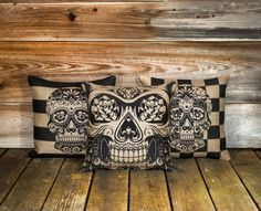 "Skull Pillow Covers (3) Day of the Dead, Sugar Skull Throw Pillow, Día de los Muertos Cushion, Decorative 16"". $115.00, via Etsy."