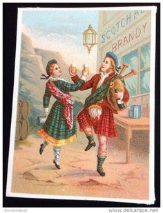 Chromo bouillon Rivoire circa 1880 Écosse danse écossaise taverne whisky scotch joueur de cornemuse biniou