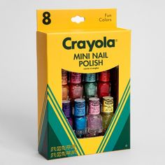 If she loves her arts and crafts, the Crayola Mini Nail Polish Set looks just like her favorite box of crayons . but for her nails! See more white elephant gifts when you click. Nail Polish Sets, Nail Polish Colors, Cute Nails, Pretty Nails, Hair And Nails, My Nails, White Elephant Gifts, Beauty Nails, Lip Balm