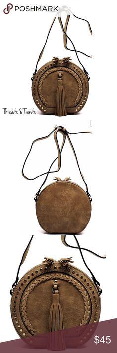 Cross Body Tassel Saddle Bag Fashion Tassel Round Saddle Crossbody Bag Faux Leather Zip Top Closure Adjustable Shoulder Strap 8.5(L) X 8(H) X 4(W) Threads & Trends Bags Crossbody Bags