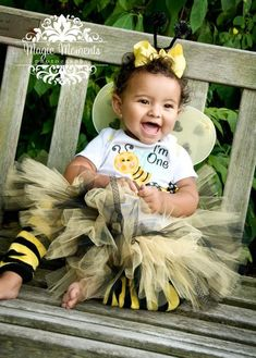 Bumble Bee Bloomers, First Birthday Girl Outfit, I'm One, Baby Toddler Girl, Yellow and Black, Number One. $22.50, via Etsy.