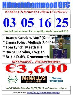 Support the fundraising efforts of Kilmainhamwood GFC, Kilmainhamwood Kells, Meath. Lotto Draw, Jackpot Winners, Number Drawing, Duffy, Lynch, Text Messages, Fundraising, Effort, Dip
