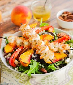 Grilled Shrimp, Peach & Goat Cheese Salad with Honey Balsamic Vinaigrette | Home & Plate | www.homeandplate.com