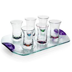 Feature: Dansk Cordials Modern 6 Glass set with tray, brand new in the box. New old stock Cordial, Shot Glasses, 2nd Birthday Parties, Clear Glass, Spectrum, Tray, Cocktails, Crystals, Tableware