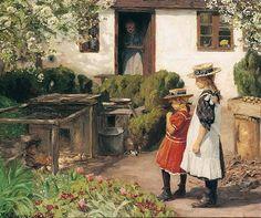 Watching the Chicks ~ Hans Andersen Brendekilde ~ (Danish: 1857-1942)