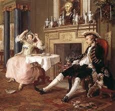 Marriage a la mode, tete a tete, Hogarth, 1743-45, Londra, National Gallery