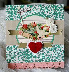 :: J. Holiday scrapbooking :: love the heart decoration idea.