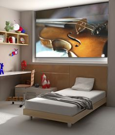 For the musician's bedroom. Printed image by Getty Images, printed onto your custom made roller blind.