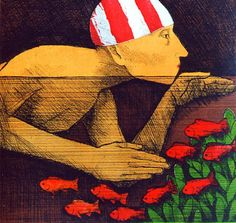 Frans Wesselman, Swimmer (etching)