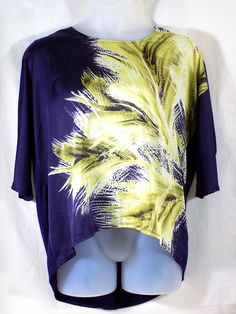 Coldwater Creek XL High Low Top Purple Yellow Scoop Neck #ColdwaterCreek #Blouse #Casual