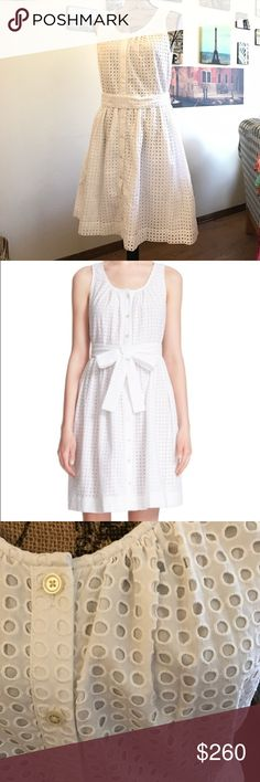 """kate spade white dot eyelet dress!! This dress is so fresh and classy!!!  Wear with a pair of keds to the country club for a brunch with friends or dress up with some strappy sandals for an afternoon at an outdoor symphony!!  Measures 19"""" pit to pit flat laid, waist measures 17"""" across the front, flat laid, and the length is 38"""".  088111110117  Photo cred:  Nordstrom kate spade Dresses Midi"""