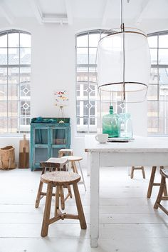 Radiant with light and texture and thoughtful color. creating EASE in design feel. Couleur-Locale-Belgium-stools-photo-by-Paulina-Arcklin. Room Inspiration, Interior Inspiration, Style At Home, Decoracion Vintage Chic, Home And Deco, Interiores Design, Home Fashion, Rustic Furniture, Home And Living