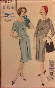 """VTG 4972 Vogue (1959) """"Vogue Special Design"""" one piece dress. Size 14, Bust 34"""". Complete, unused, FF. Excellent condition. by ThePatternParlor on Etsy"""