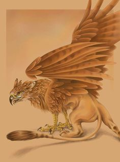 *MYTHOLOGY ~ GRY-PHON grif·finˈgrifin a mythical creature with the head and wings of an eagle and the body of a lion, typically depicted with pointed ears and with the eagle's legs taking the place of the forelegs. My Fantasy World, Fantasy Art, Aigle Animal, Legendary Creature, Mythological Creatures, Magical Creatures, Creature Design, Fantastic Beasts, Faeries