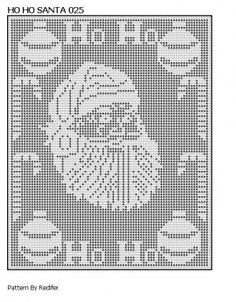 Free Filet Crochet Cat Patterns | Original Filet Pattern Santa Head Theme 025