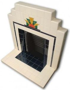 Sunrise Art Deco tiled fireplace side