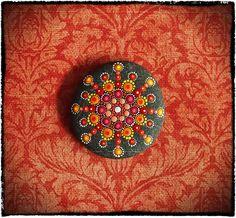 Jewel Drop Mandala Painted Stone Summer Spark by ElspethMcLean