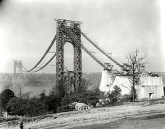 GWB while it was being completed Fort Lee, Washington Heights, Hudson River, George Washington Bridge, Old Pictures, New York City, Travel, Construction, Google