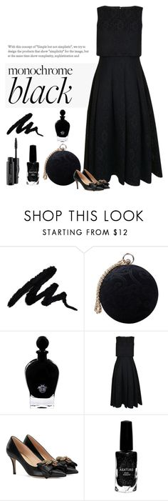 """""""My Black Dress"""" by patricia-dimmick ❤ liked on Polyvore featuring Carvela, EB Florals, Ted Baker, Gucci, Azature, MAC Cosmetics and allblackoutfit"""