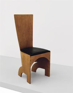GERALD SUMMERS Rare plywood chair, 1933  Bent laminated birch plywood, coated fabric. 40 1/4 in. (103 cm) high Manufactured by Makers of Simple Furniture Ltd., UK.
