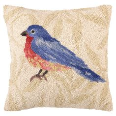 LOVE this, looks like a watercokor painting!!       Showcasing a hand-hooked bluebird, this wool and cotton pillow offers a plush finishing touch for your sofa or arm chair.     Product...