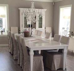 White & gray classy dining room. Interior design ideas.