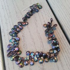 Peacock Pearl Necklace Baroque Purples Greens by LeanneFDesigns, $64.00
