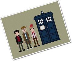 Doctors Nine Ten & Eleven  The Original Pixel by weelittlestitches