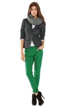 green jeans, white top, gray sweater, gray scarf, black booties or gray Toms