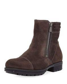 Hugh Waxy Suede Dual-Zip Boot, Gray