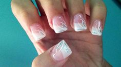 Simple and elegant white and silver tips acrylic nails