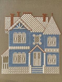 needlepoint Victorian house, designer unknown