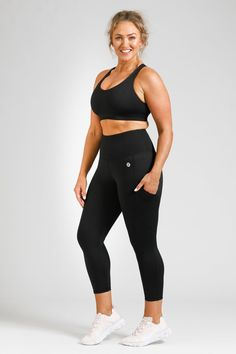 Smart Pocket 7/8 Length Tight - Black – Active Truth™ Workout Session, Perfect Fit, Tights, How Are You Feeling, Sporty, Crop Tops, Model, How To Wear, Pockets