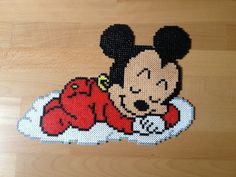 Baby Mickey hama beads by bluekiff Melty Bead Patterns, Pearler Bead Patterns, Perler Patterns, Beading Patterns, Hama Disney, Perler Bead Designs, Baby Mickey, Perler Beads, Beaded Snoopy