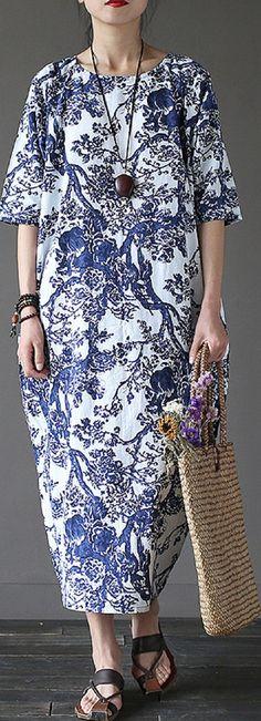 US$ 21.20 Elegant Half Sleeves Floral Printed Noble Dresses