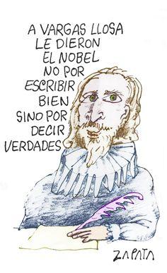 Vargas Llosa. Caricatura de Zapata en la página de Opinión. Caracas, 08-10-2010 (PEDRO LEON ZAPATA / ARCHIVO EL NACIONAL)