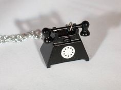 Black Telephone Necklace Wooden Rotary Phone Charm by funkyou