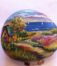 Paisaje #pintadoamano #piedraspintadasamano #handmade #