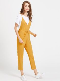 40f5b7260bb Shop Criss Cross Back Scallop Trim Drawstring Waist Jumpsuit online. ROMWE  offers Criss Cross Back Scallop Trim Drawstring Waist Jumpsuit   more to  fit your ...