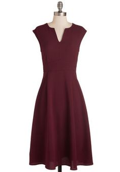 Job Swell Done Dress in Burgundy. After a successful presentation to the board, celebrate with coworkers in this burgundy dress! #red #modcloth