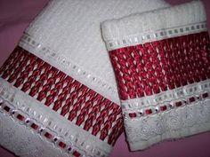 Resultado de imagen para bordado de fita em toalha