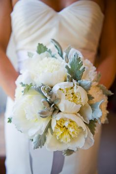 peony and dusty miller bridal bouquet by natalie bowen designs. photo by flory photo