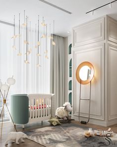 """Portfolio: City view apartment in """"Moscow-City"""" centre Kids Bedroom Designs, Baby Room Design, Baby Room Decor, Nursery Room, White Nursery, Baby Rooms, Luxury Kids Bedroom, Luxury Nursery, Interior Exterior"""