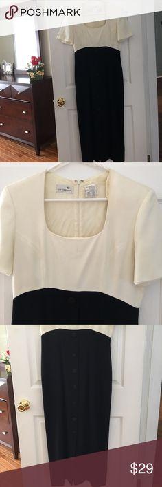 Liz Claireborne Long Vintage Dress Black & Cream - Good condition - nice for wedding and formal wear Liz Claiborne Dresses Wedding