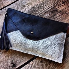 Black Leather Clutch with Fur Trim Black And White by MLMhandbags, $80.00