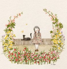 71 images about Cat and Me Illustration on We Heart It Art And Illustration, Illustration Mignonne, Illustrations, Art Fantaisiste, Art Mignon, Cat Drawing, Whimsical Art, Oeuvre D'art, Cat Art