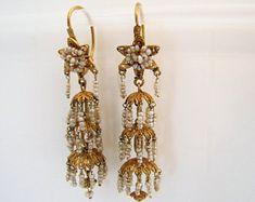 Georgian 18K Gold Cannetille & Seed Pearl Earrings. Antique Pagoda Style Chandelier Earrings. Regency Era Gold Pearl Filigree Earrings C1810