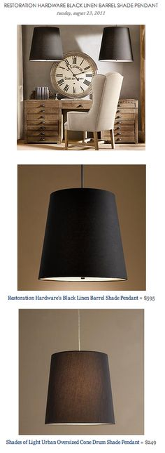 COPY CAT CHIC FIND: Restoration Hardware's Black Linen Barrel Shade Pendant VS Shades of Light Urban Oversized Cone Drum Shade Pendant
