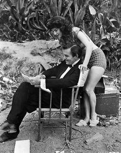 Ava and James Mason on the set of Pandora, 1951