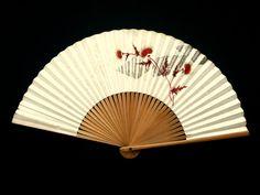 Japanese Folding Fan Flower Plant Vintage Paper Fan Sensu Hand Fan F60 Red Bronze